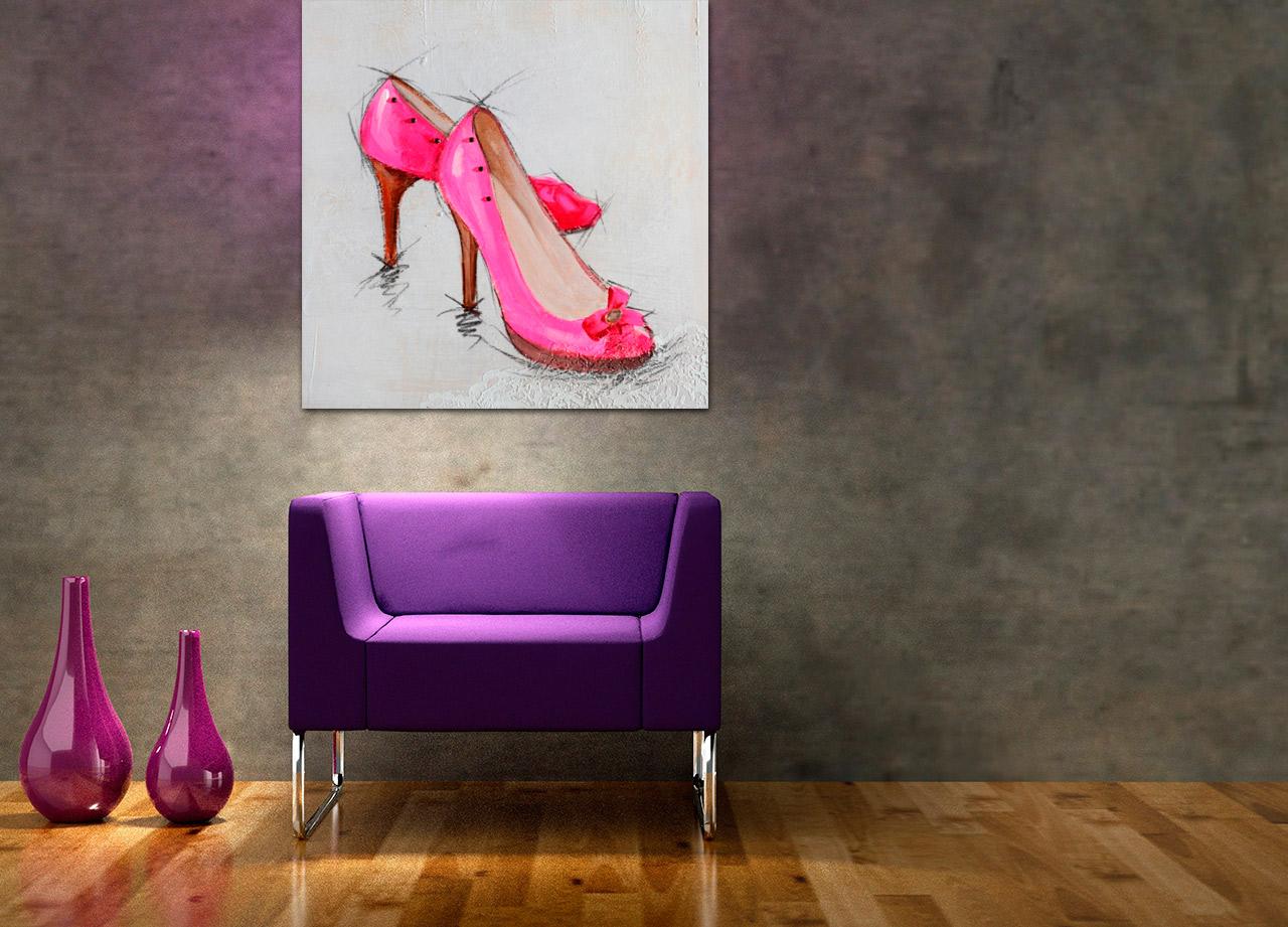 Quadro Sapato Rosa Intenso