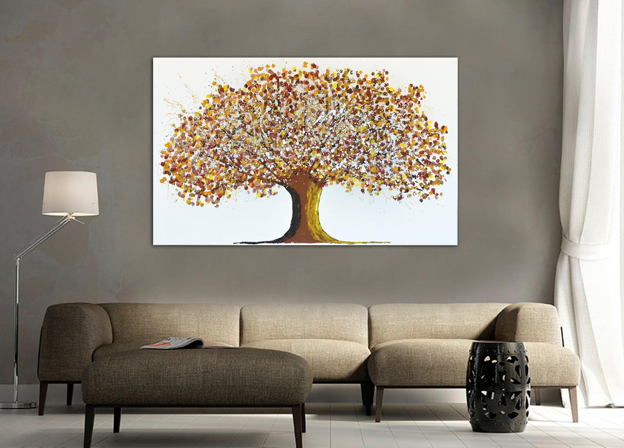 Pintura de árvore e flores outono