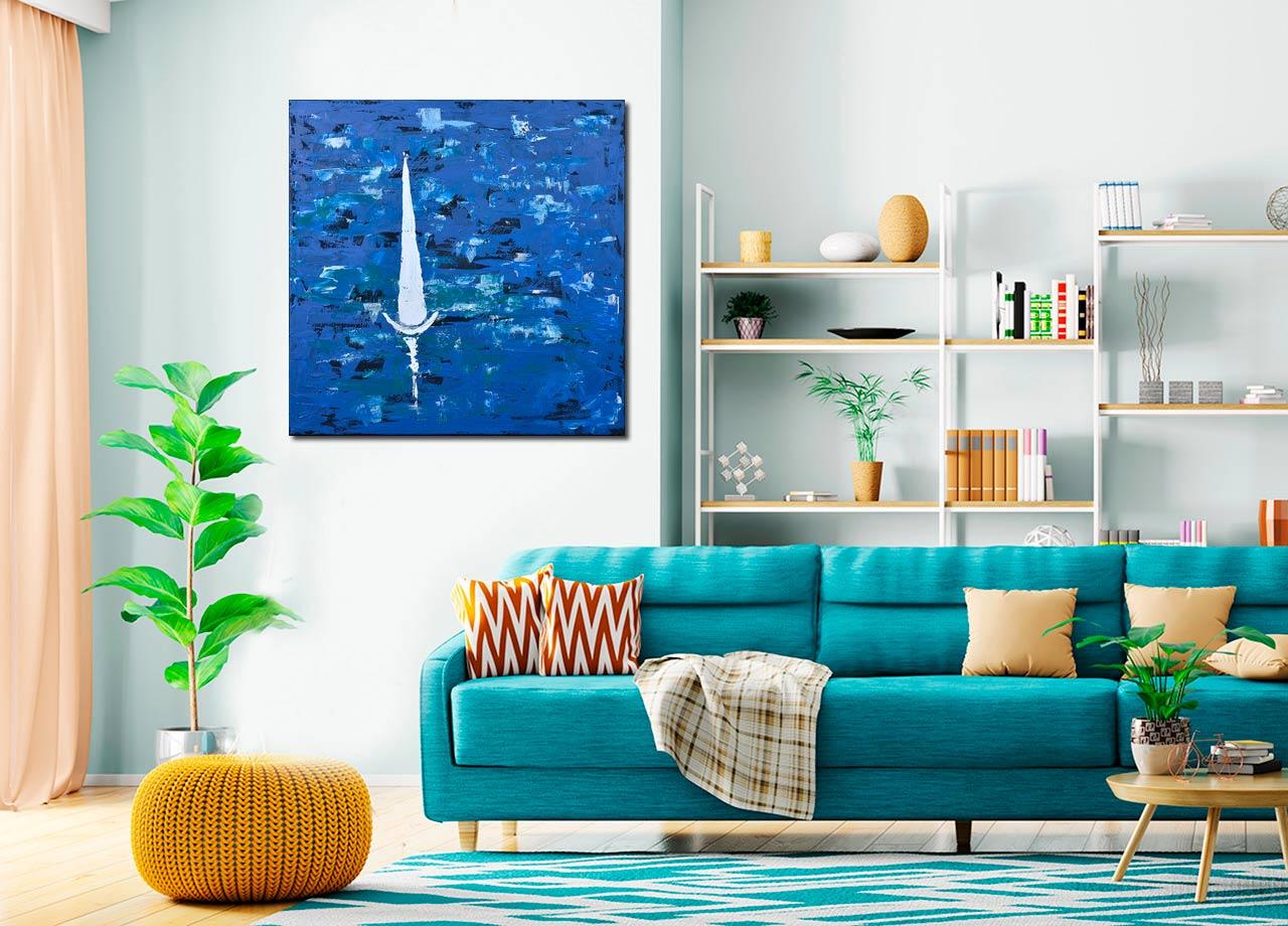 Pintura abstrata de barco