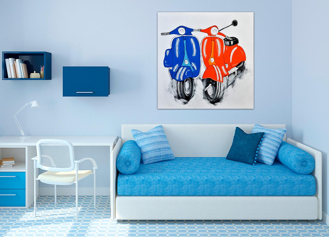 Pintura de casal de motocicleta