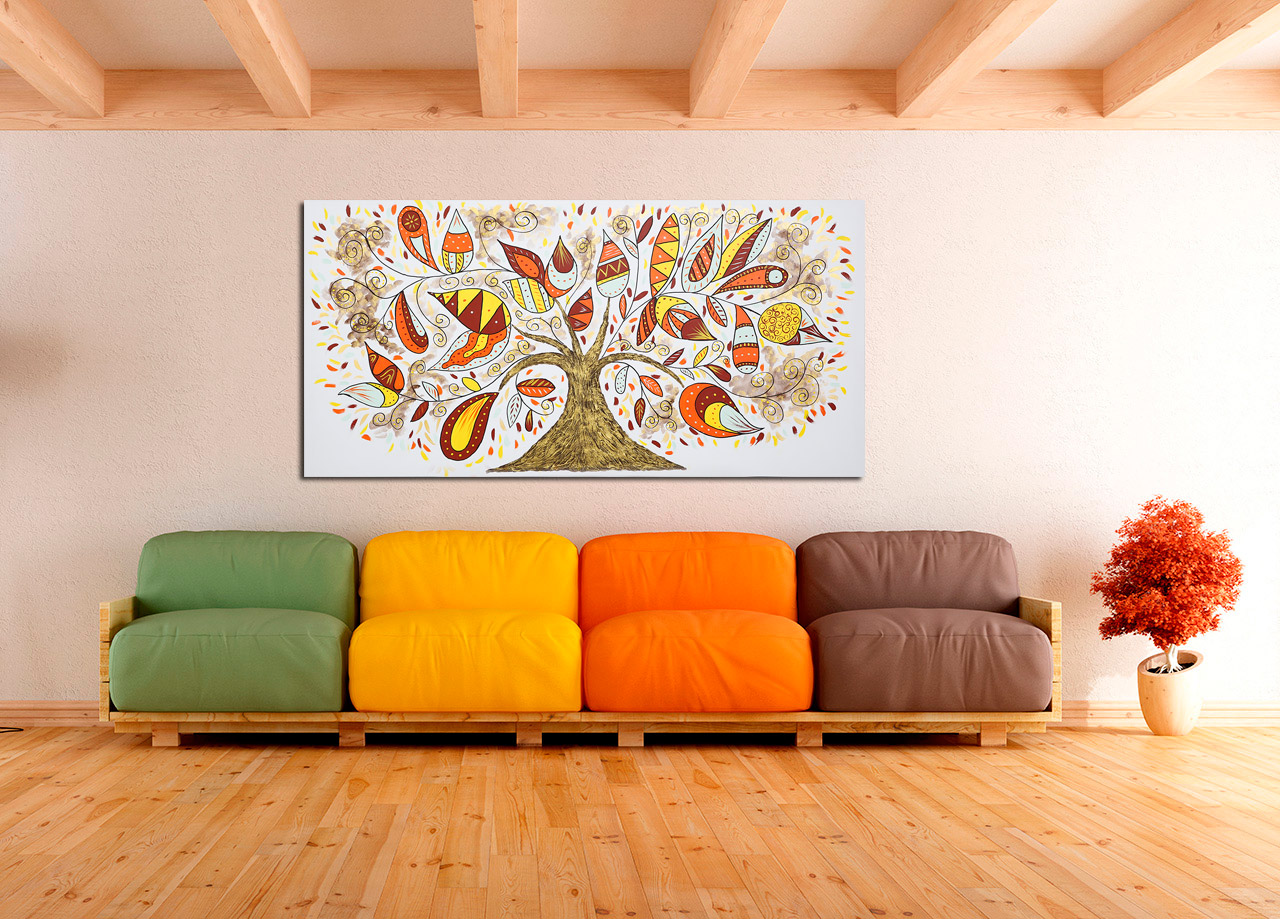Pintura de árvore de outono