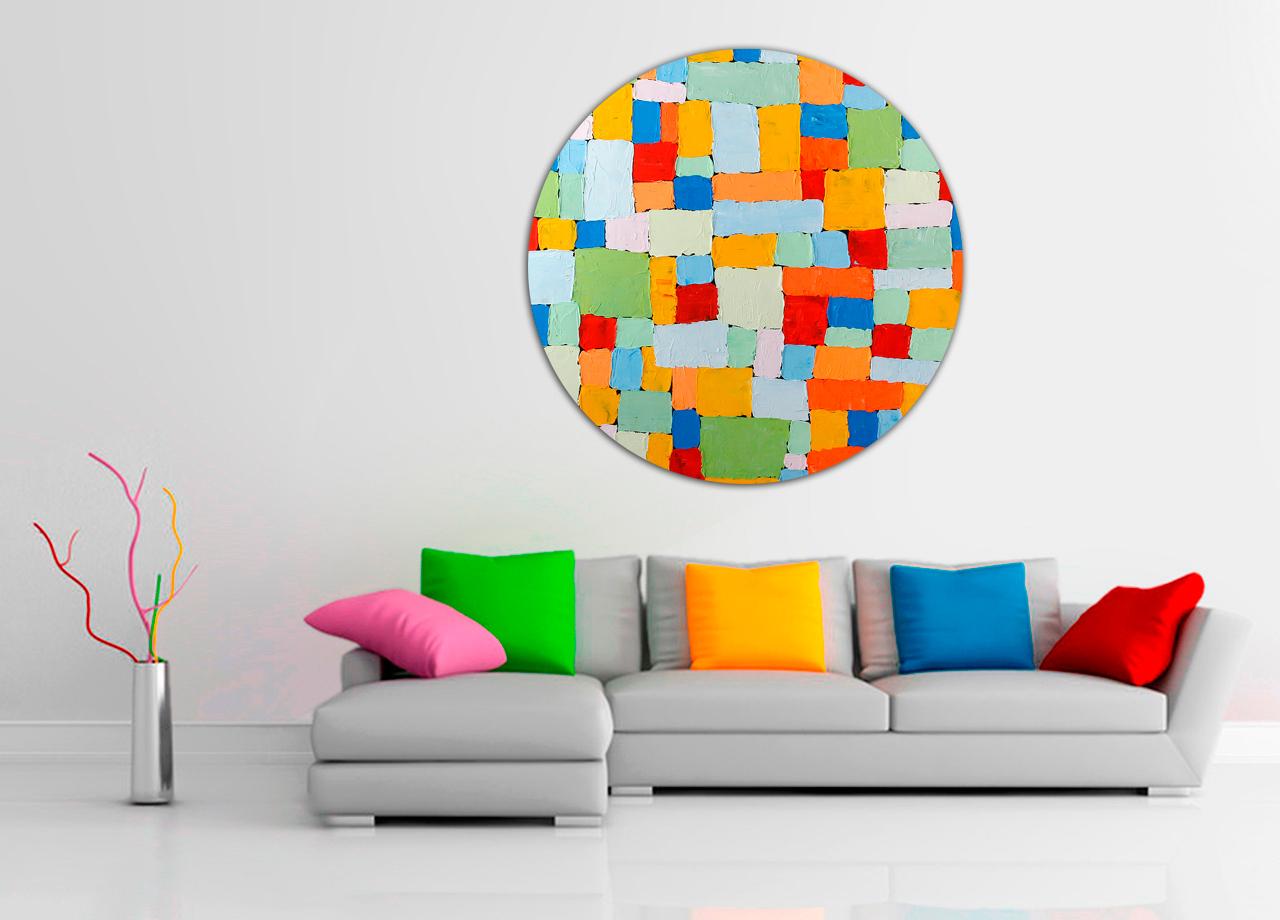 Pintura abstrata colorida redonda