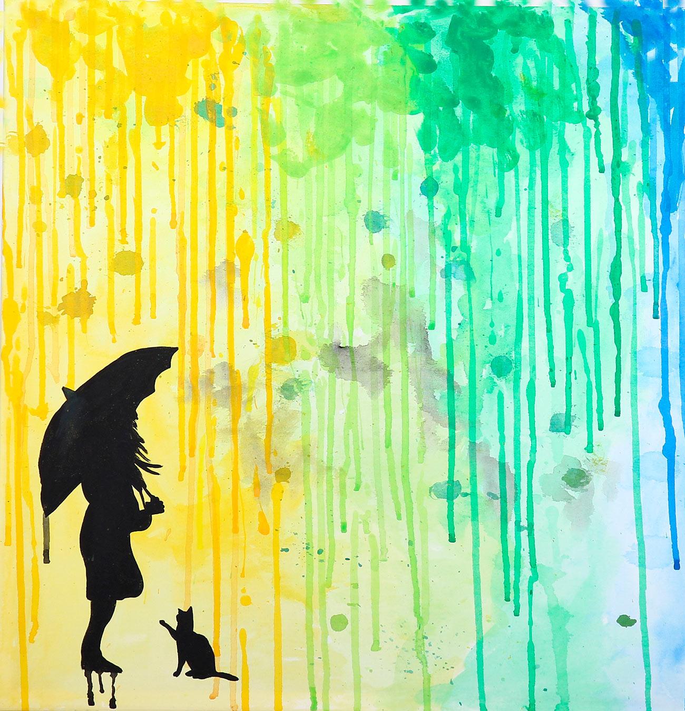 Quadro de chuva colorida 2