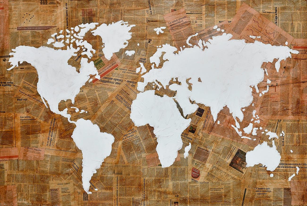 Quadro de colagem de mapa