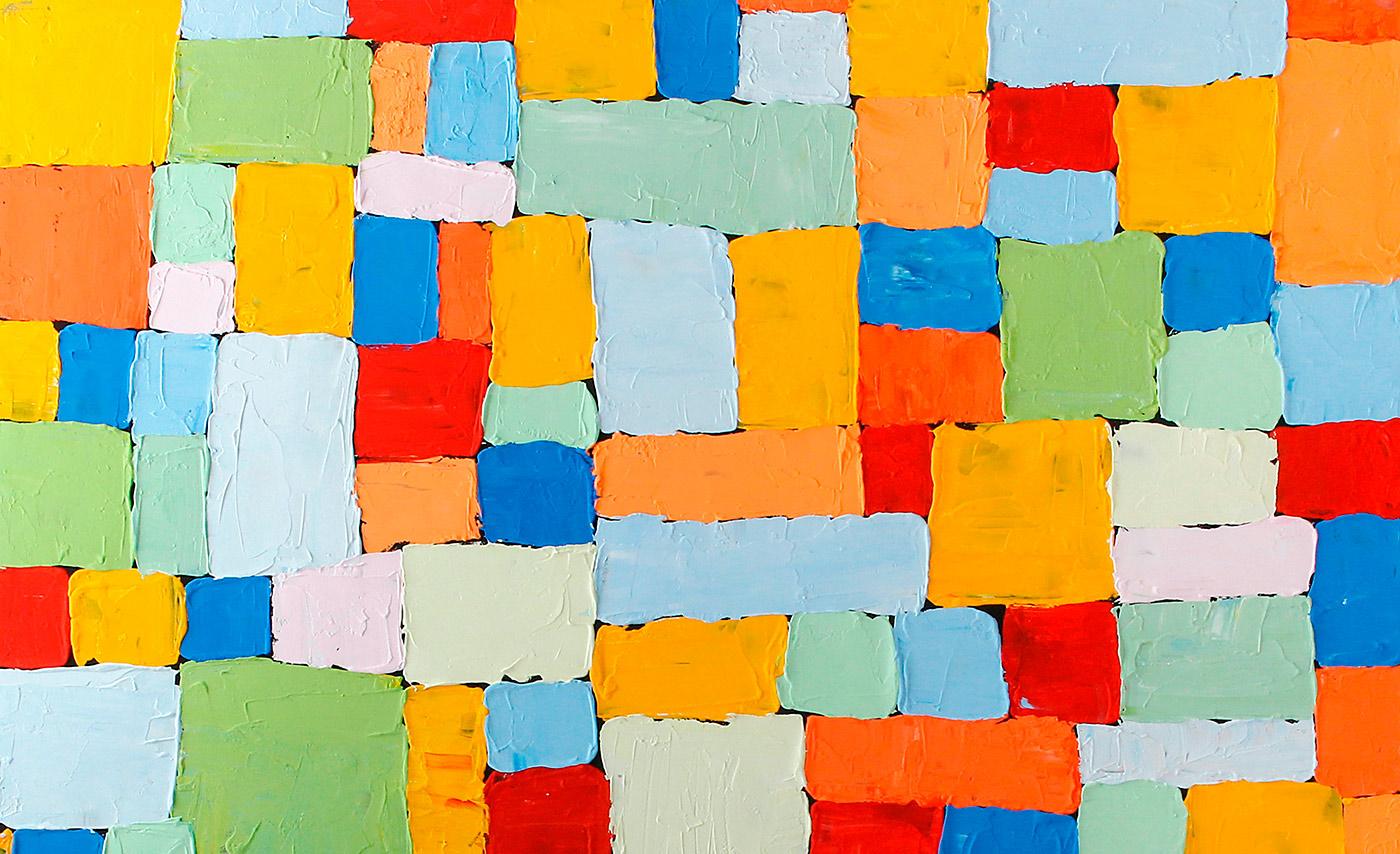 Quadro abstrata quadrados coloridos