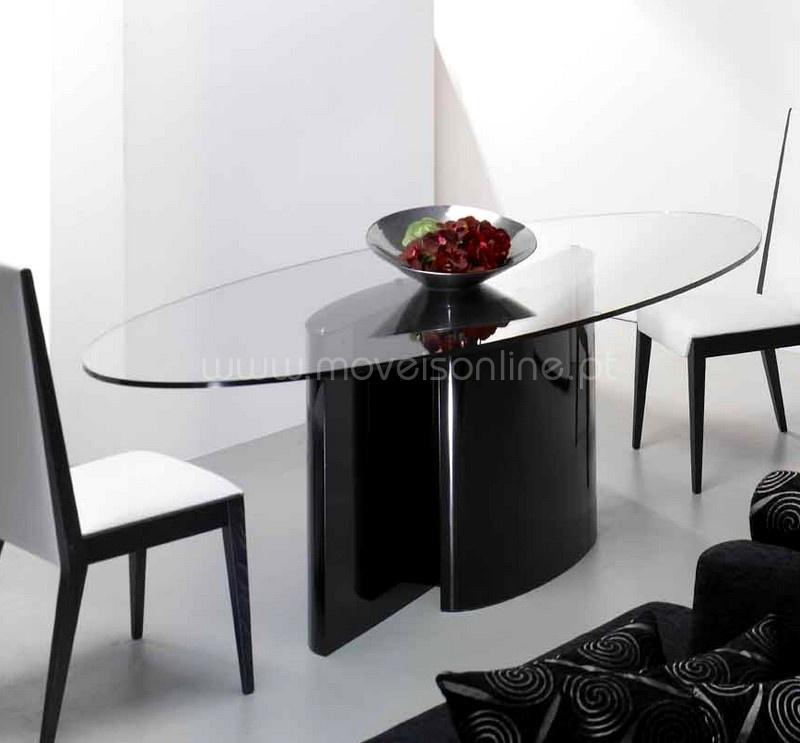 Mesa de jantar oval ao melhor pre o s em moveis online for Mesas online
