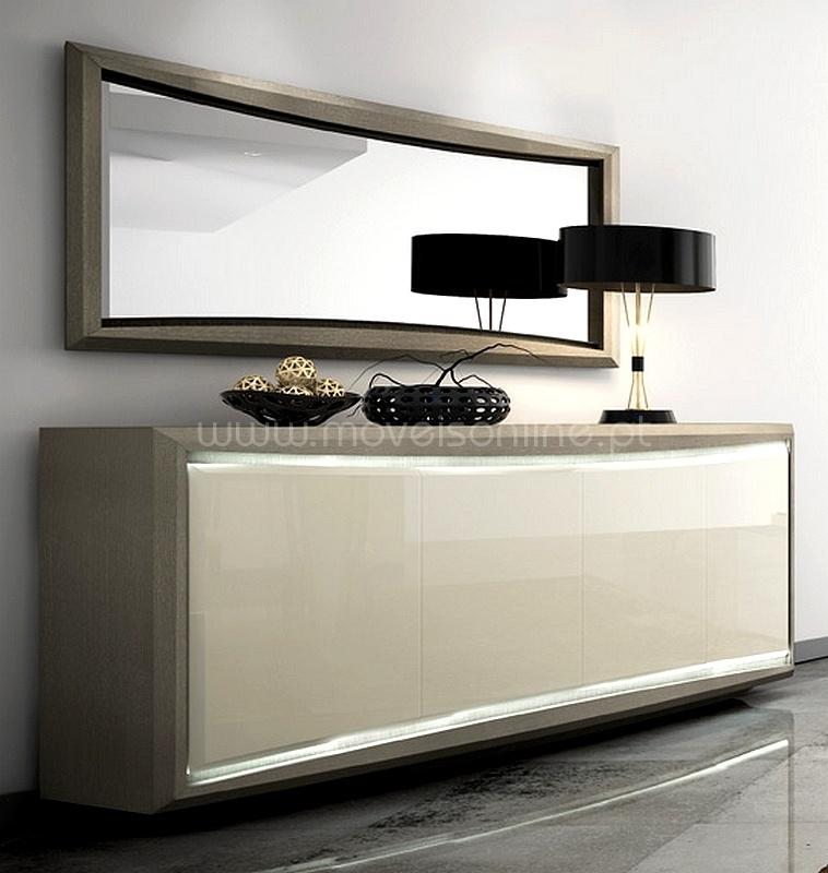 Aparador c espelho led nude ao melhor pre o s em moveis for Aparadores altos modernos