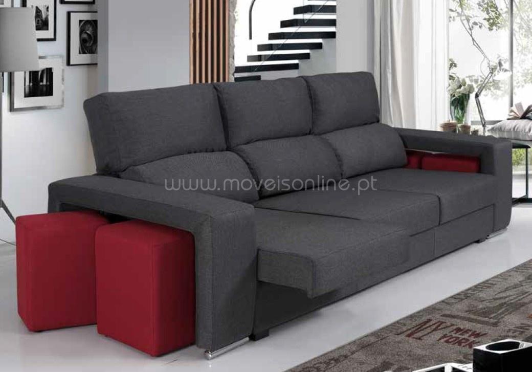 Sofa Chaise Longue 4 Puffs Sevilha