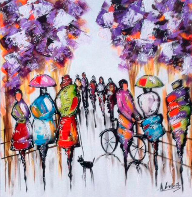 Pessoas em movimento pintando